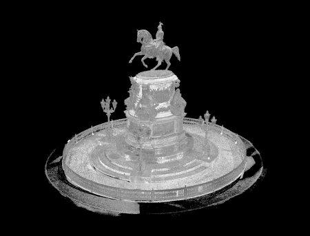 Памятник Николяю I. Точечная чернобелая модель.