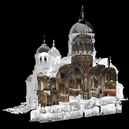 Войсковой собор (Новочеркасск). Точечная совмещенная модель (разрез).