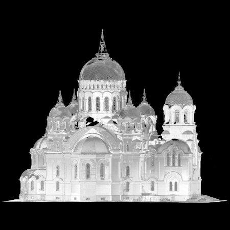 Войсковой собор (Новочеркасск). Точечная чернобелая модель.